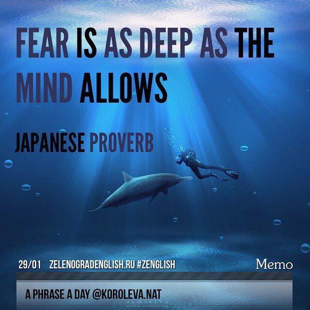 """Fear is only as deep as the mind allows."" – Japanese Proverb ""Твой страх глубок настолько, насколько позволяет твой разум"" - японская пословица.   #aphraseaday #zenglish #korolevanat #зеленоград #zelenograd"