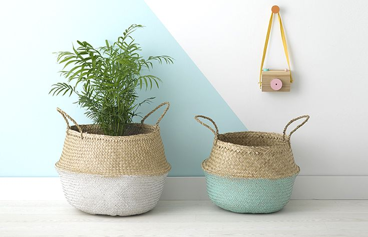 Olli Ella's fair-trade white dipped and mint dipped belly baskets are a must…