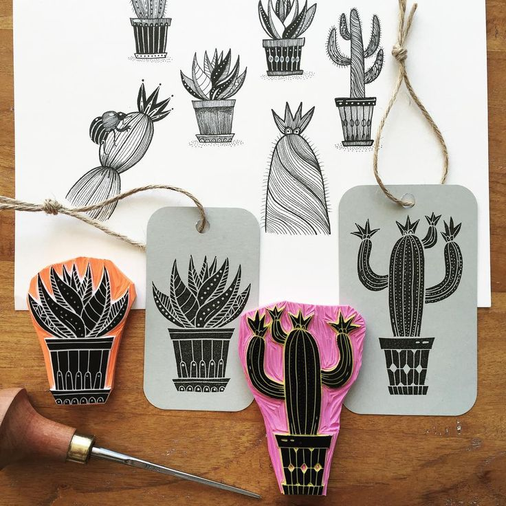 Handcarved rubberstamps based on a few of my cactus drawings. #viktoriaastrom #cactus #rubberstamp #stamp #rubbercarving #plants #print #printing
