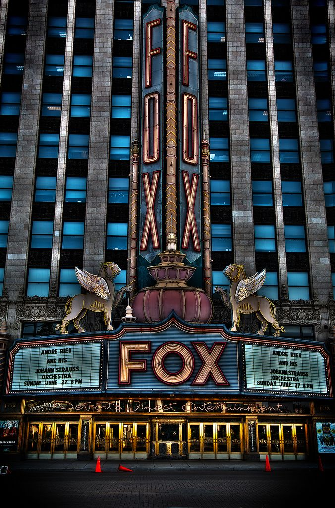 Fox Theater, Detroit opened in 1928 as a flagship movie palace in the Fox Theatres chain, it is noted as the first theater designed and built to include a speaker system for sound films.
