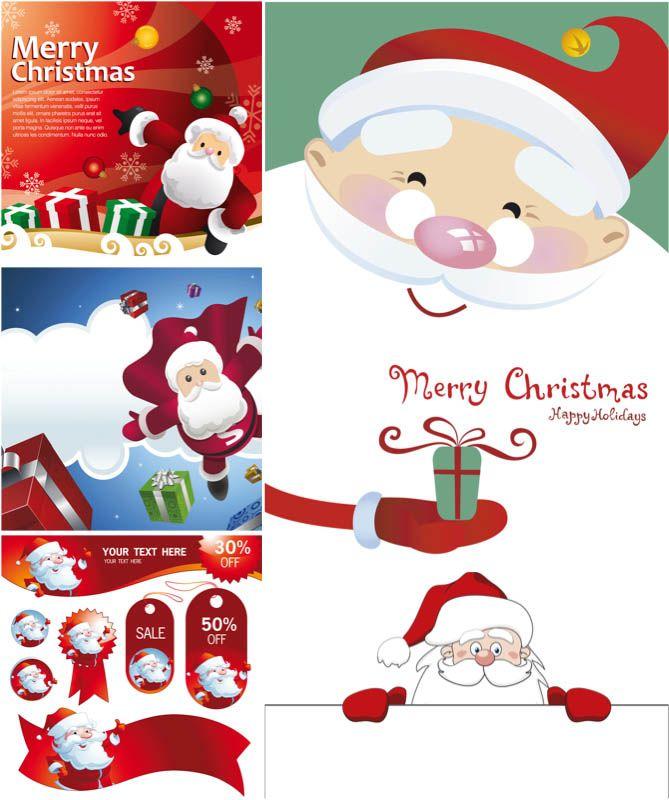 Cartoon #Santa Claus cards #vector