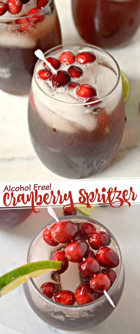 This Non-alcoholic Cranberry Spritzer is a great drink to serve over the holidays - whether at Thanksgiving Dinner, Family Christmas or even a kid friendly New Year Eve party!