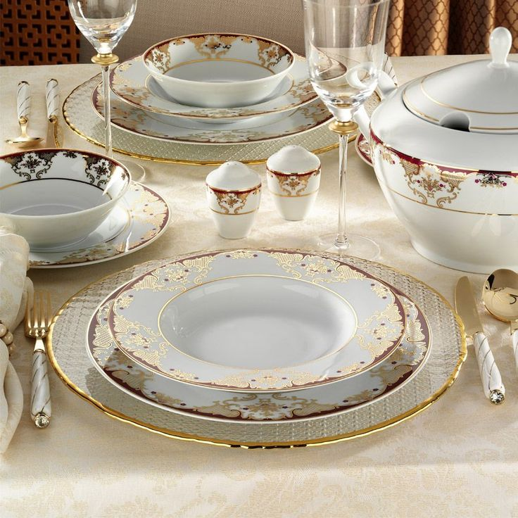 Kütahya Porselen 8458A 83 Parça Desenli Yemek Takımı ::