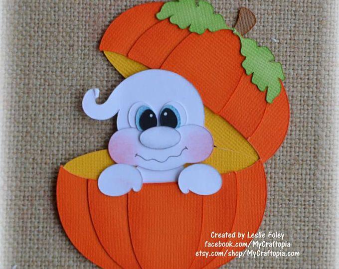 Pumpkin Ghost Halloween Premade Scrapbooking Embellishment Paper Piecing set