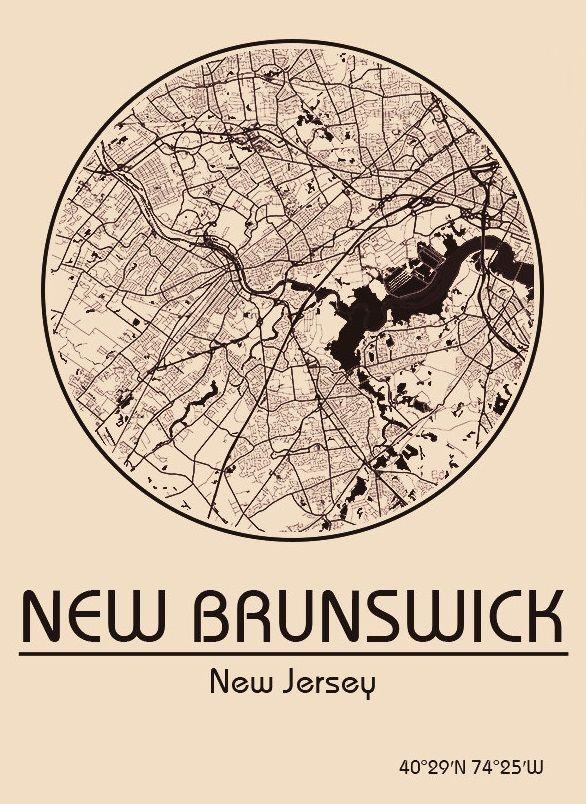 Karte / Map ~ New Brunswick, New Jersey - Vereinigte Staaten von Amerika / United States of America / USA