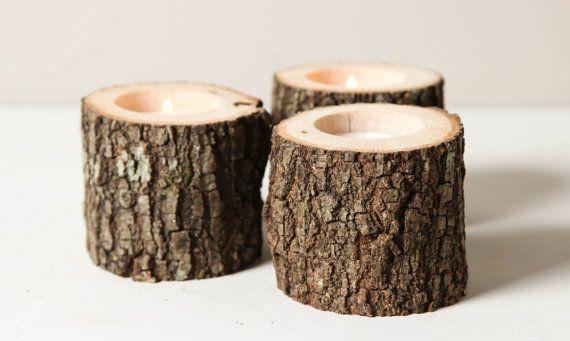 3 短期素朴な木製キャンドル ホルダー木製キャンドル ホルダー森結婚式のツリー ブランチ by WorleysLighting