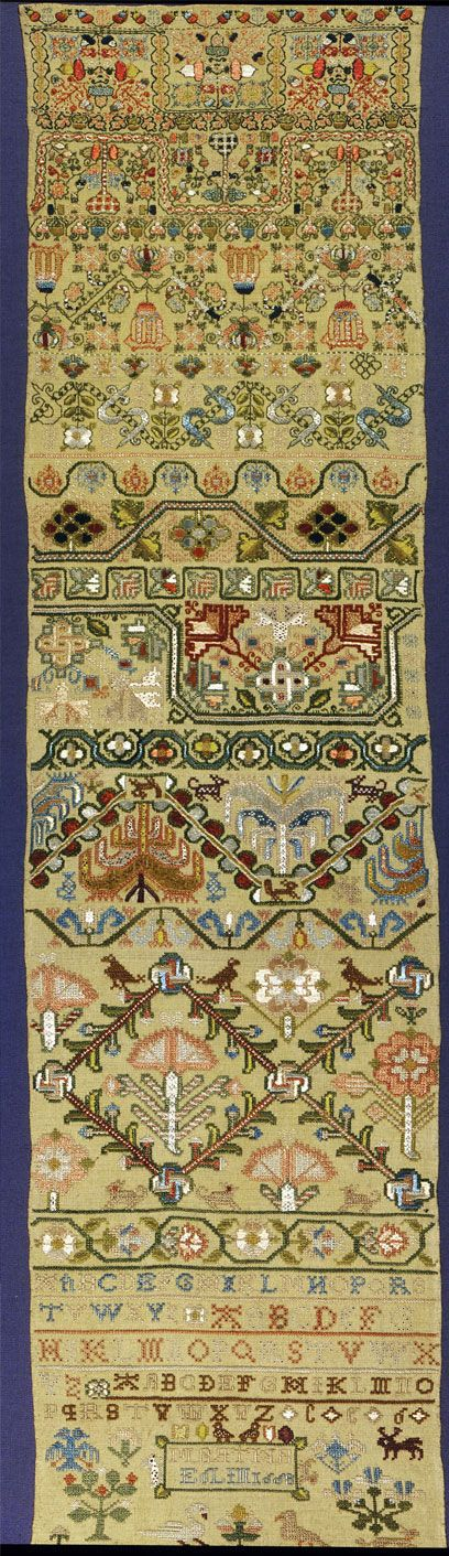 Linen band sampler embroidered with silk, by Martha Edlin, England, 1668.