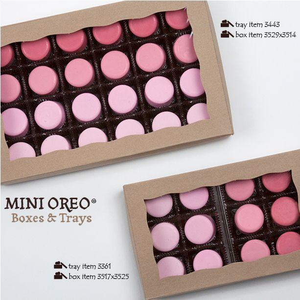BRP Box Shop boxes and trays for Mini Chocolate Covered OREO cookies. #minioreos #chocolatecoveredoreos #brpboxshop #brpboxes