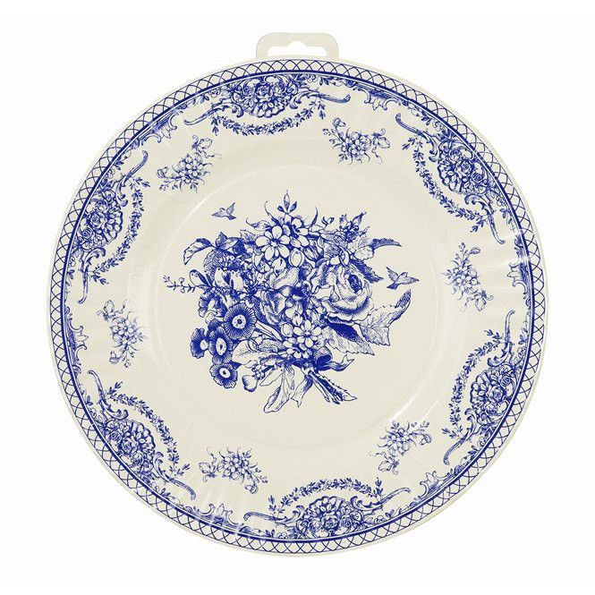 Party Porcelain Blue Large Paper Plates - Putti Fine Furnishings