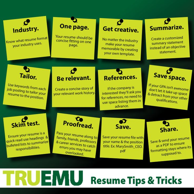 #TRUEMU Resume Tips U0026 Tricks To Consider When Creating Your First Resume Or  Updating Your