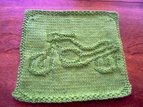 Hand Knit Grass Green Motorcycle Picture Dishcloth or ...