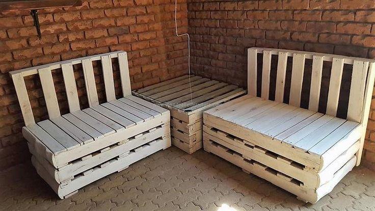 866 best pallet tables images on pinterest 1001 pallets for Pallet corner bench