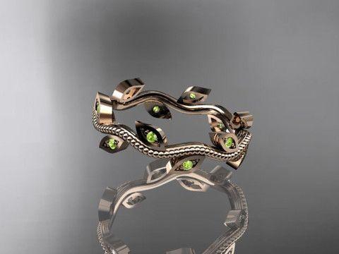 14k rose gold green peridot leaf and vine wedding ring,engagement ring,wedding band ADLR1B