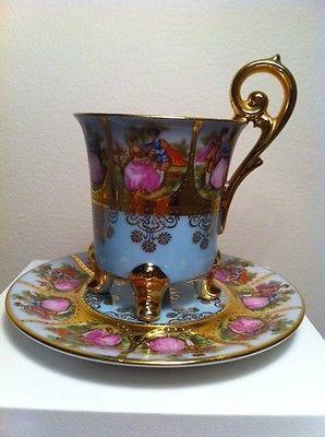 Germany Porcelain Hand Painted Demitasse Fragonard Tea Cup & Saucer 14K Rare