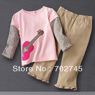 Find More Clothing Sets Information about Girl Suits 2297 Leopard Sleeve Pink Long Sleeve T shirts And Khaki Pants 2 Piece Set Children Clothes,High Quality suit 2013,China child girl clothes Suppliers, Cheap suit slim from ella zhang's store on Aliexpress.com