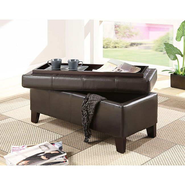 Add a multipurpose storage solution to your living room or den with this synthetic leather storage bench. The bench can provide extra seating if required or it can serve as additional table space, as the top flips over to reveal the serving tray within.