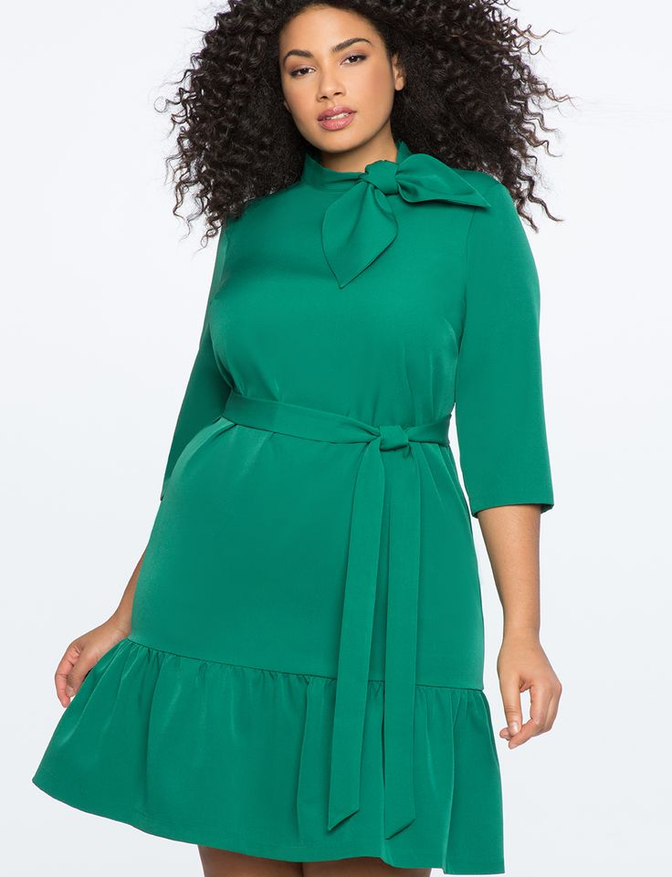 Tie Neck Peplum Dress EMERALD