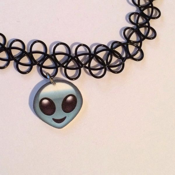 Alien emoji 90's Tattoo Choker with Charm, Grunge Necklace, Cute Black... ($6.99) ❤ liked on Polyvore featuring jewelry, necklaces, charm necklace, choker jewelry, tattoo choker, cord necklace and elastic choker necklace