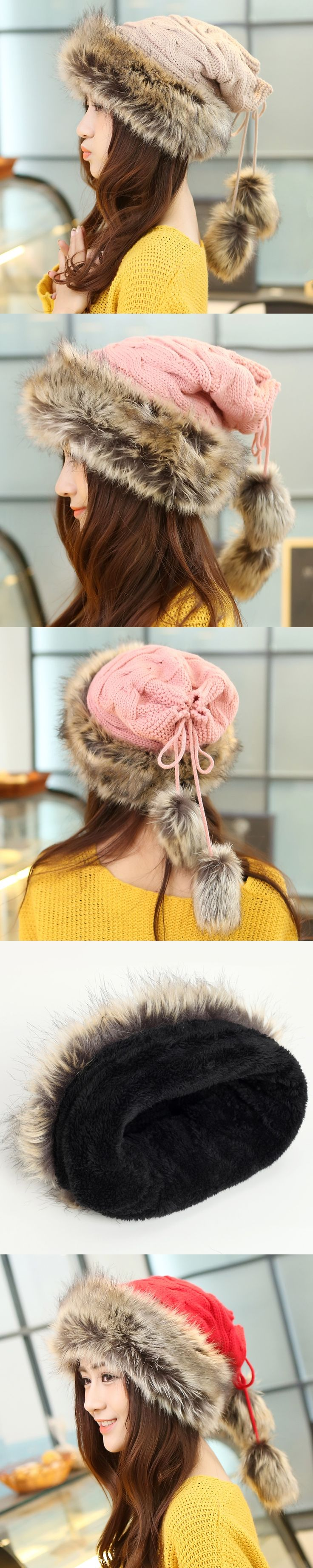 2016 Winter Hat Women Fur Cap Warm Plus Velvet Dual Use Hats For Women Thicken Knitting Caps Ladies Winter Beanie Wool Hat