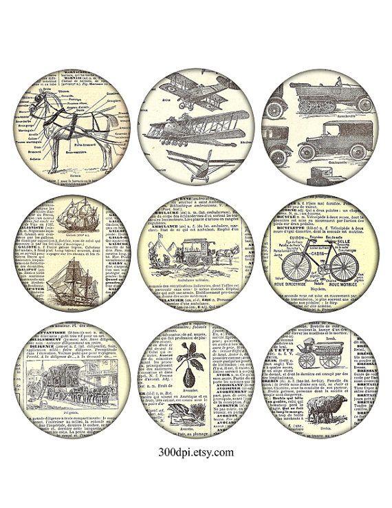 2,5 pouces vintage imprimable étiquettes grands rond images vélo navire cheval feuille de Collage numérique grunge éphémères dictionnaire analyse en arrière-plan