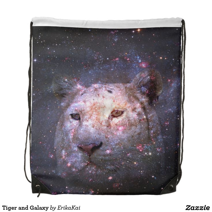 """Tiger and Galaxy Drawstring Backpack. 100% polyester. Dimensions: 14.75"""" x 17.3""""."""