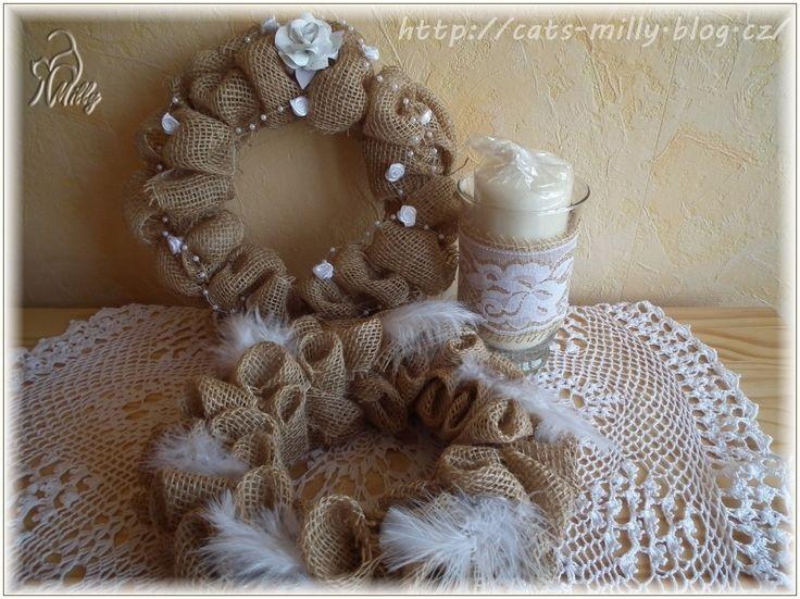 burlap, wreaths, candlestick, feathers