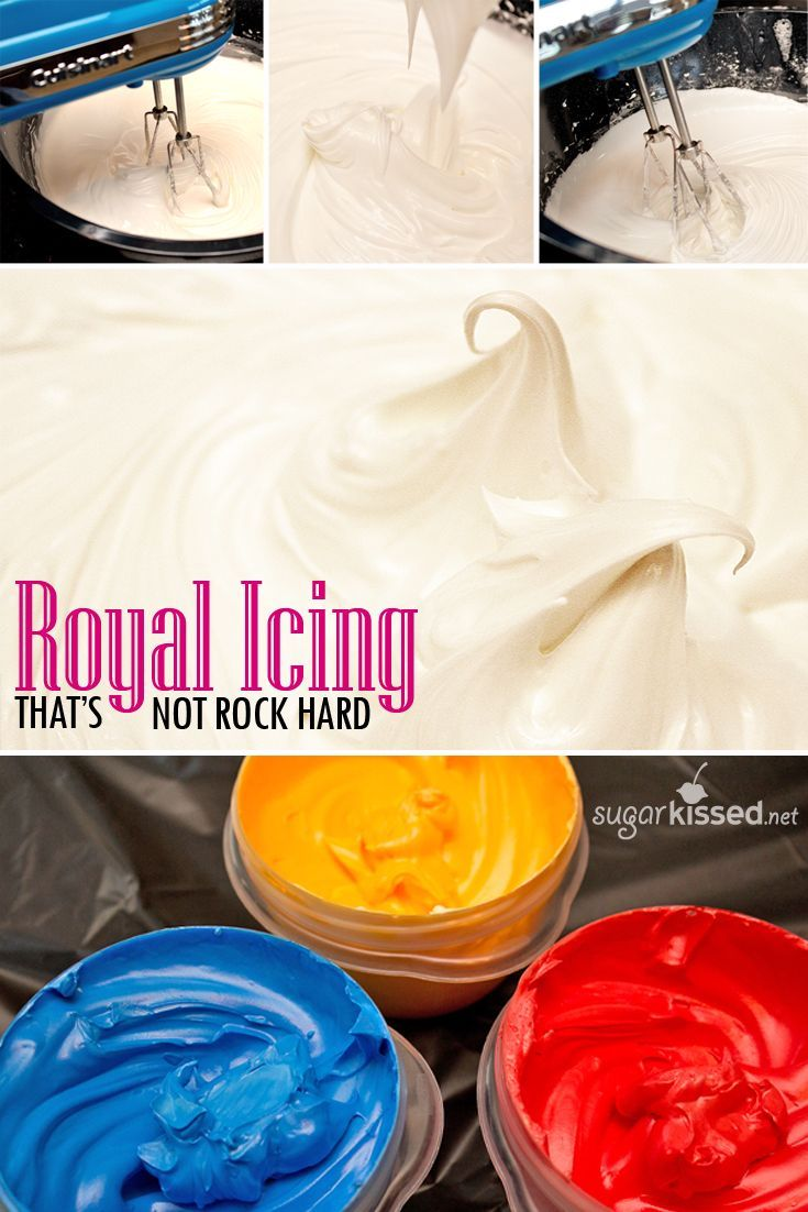 This is my favorite royal icing recipe! It doesn't dry rock hard bit it's sturdy enough for detailed piping and stacking cookies.