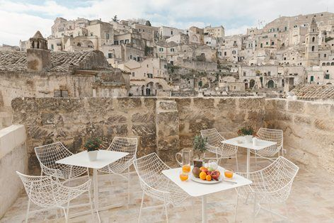 #Hotel La Dimora di Metello, set in the heart of ‪#‎Matera‬'s ‪#‎Sassi‬, encompasses in one unique place tradition together with a modern touch #stone #hotel #outdoor #terrace #design