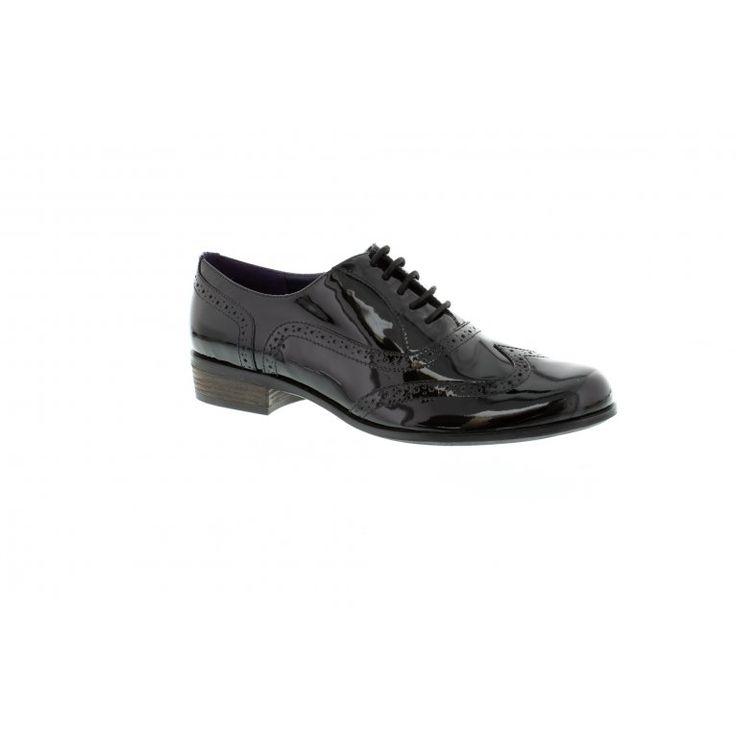 Clarks Hamble Oak Black Patent Classic Brogue Shoe - http://www.shoefish
