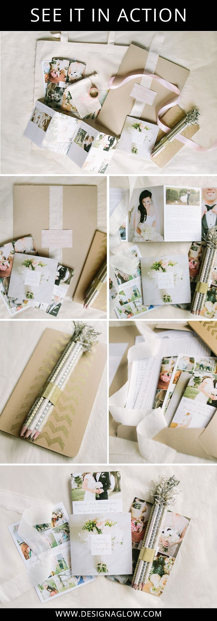 Kat from Mustard Seed Photography has used our Modern Minimalist Welcome Packet and Welcome Folders to create this gorgeous first impression for her clients.