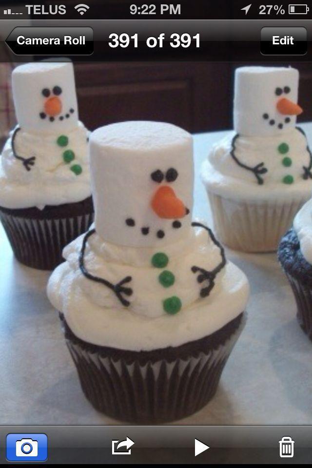 Cute little snowman cupcakes