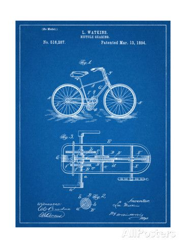 Bicycle Gearing Patent Posters - at AllPosters.com.au