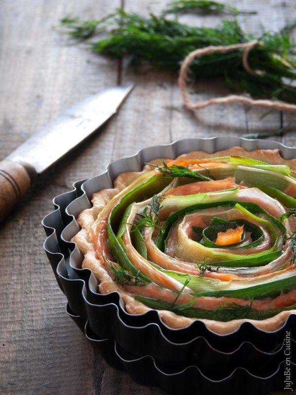 """Tarte légère """"tourbillon"""" saumon fumé et poireau"""