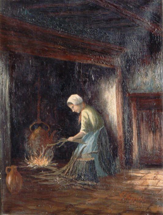 Afbeeldingsresultaat voor haardvuur in schilderij