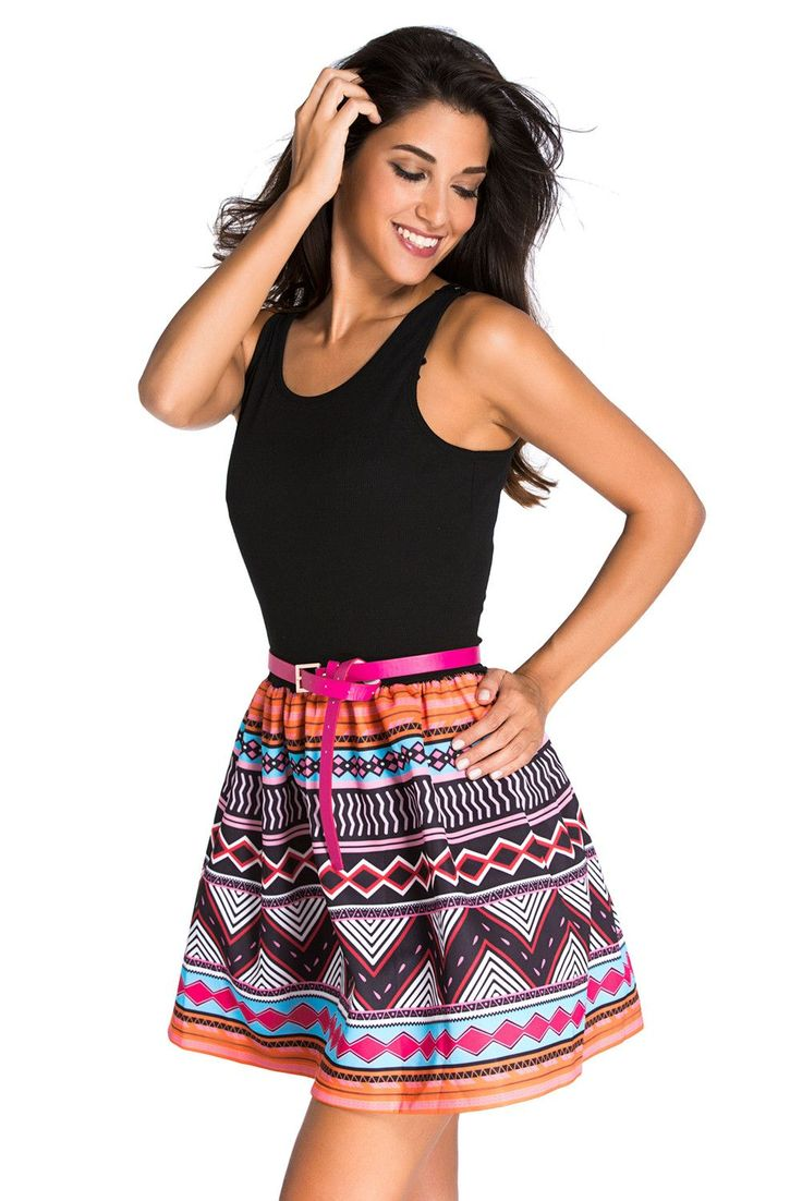 Tank Top Robes Noires Patineuses Imprime Tribal Jupe Robe evasee Pas Cher www.modebuy.com @Modebuy #Modebuy #CommeMontre #fashion #dress #Noir
