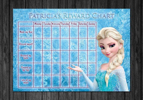 disney frozen kids rewards chart  chart for toilet training  potty rewards  kids chore behaviour