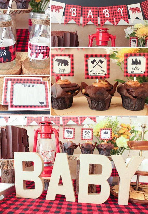 Lumberjack Baby Shower Decorations Package using buffalo plaid.  Easy to use printable decorations.  Great price!!