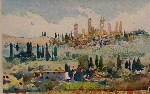 San Gimignano acquerello di Massimo Pantani