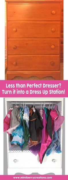Have an old dresser that has seen better days? Turn it into a dress up station that kids will love using! Keep one drawer for extra storage, and install a closet rod where the other drawers were so that their dress up clothes can hang! Plus add a mirror to the side for them to check their new selves in. So easy and so fun!