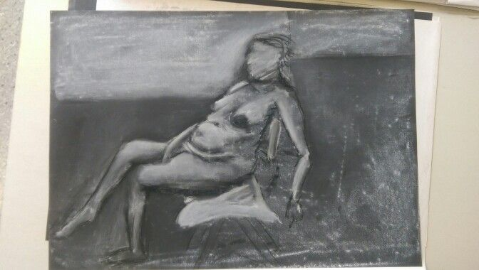 Nude model in chalk and charcoal
