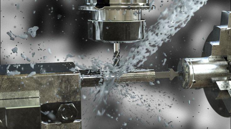 CNC Scene modeled in NX. Fluid grabbed from Turbosquid. Rendered in KeyShot