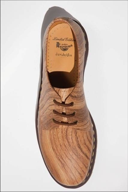 Woodgrain effect Doc Marten shoes.