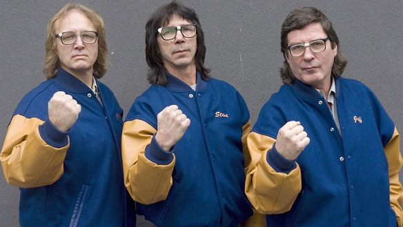 The Hanson Brothers, actors in the Slapshot movie series, (left to right) Dave Hanson, Steve Carlson and Jeff Carlson pose for a photo in Toronto in November 2008.