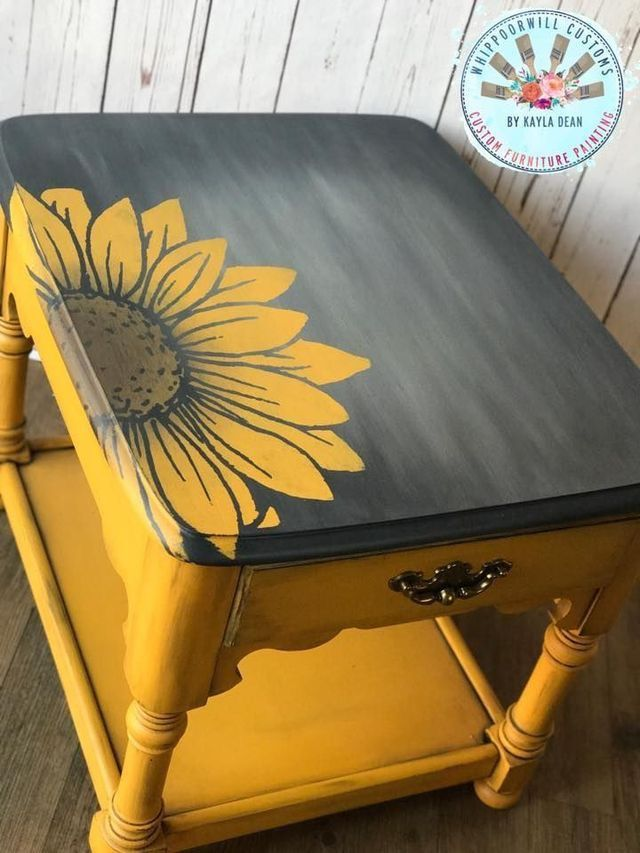 Chalk Painted Coffee Table Upcycle Yellow Black Sunflower Design Redo Furniture Furniture Makeover Decor