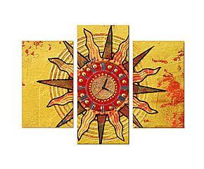 Триптих-часы на холсте - 100% хлопок - Д75хШ55