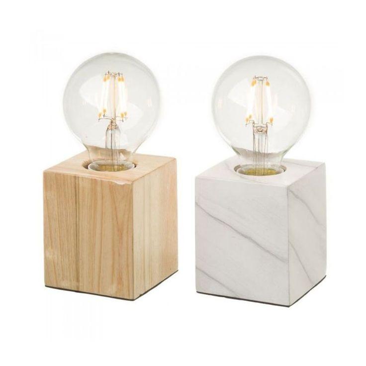 Set De 2 Lampes Bois – Bois Et Marbre – Taille : Taille Unique