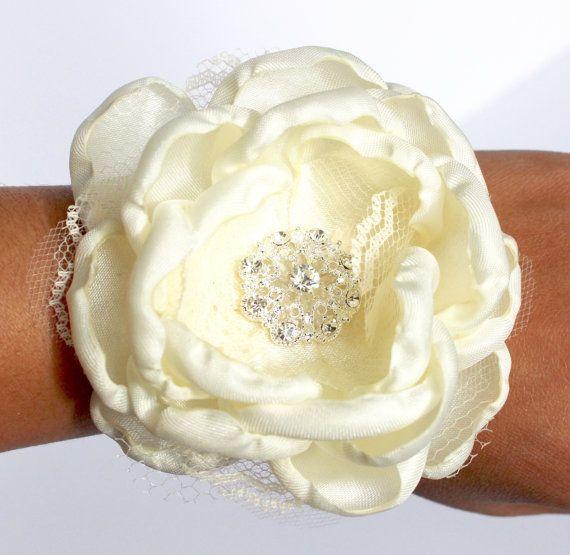 White Wrist Corsage Ivory Wedding Wrist Corsage White
