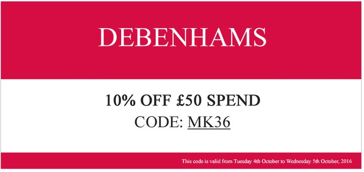 Watch for Debenhams sale events and seasonal promotions that get you as much as 50% off in the home category and check the regular sale section for some amazing discounts on items like cookware, linens, glassware, decor and more.