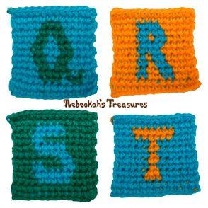 Tapestry Crochet Squares Q-R-S-T (for ABC Blocks) Pattern via @beckastreasures