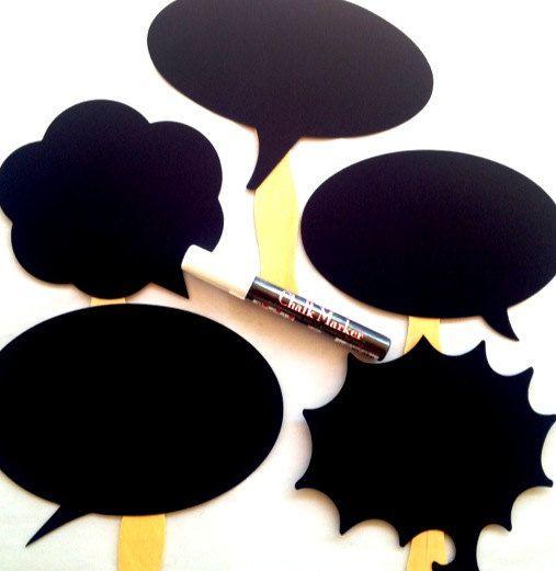 5 Marqueur-photo bulles de discours PLUS les accessoires-photo booth-mariage accessoires-tableau noir les accessoires de décoration de maria...